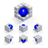 Set of cubes with sphere Stock Photo