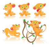 Set of cubs cartoon characters. Children's set of cartoon lions in different poses vector illustration