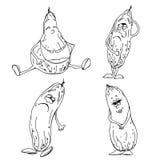 Set of cucumber sketch stock illustration