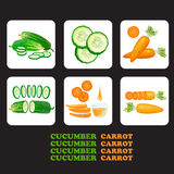 Set of cucumbers and carrots icons. Vector illustration with cucumber, carrot and slices isolated. Flat style healthy food. Set of cucumbers and carrots icons Stock Illustration