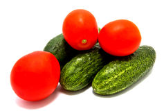 Set of cucumbers and tomatoes Stock Image