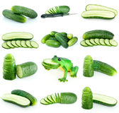 Set of cucumbers (whole and slices). Isolated on the white background Stock Photo
