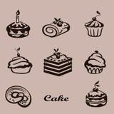Set cukierki tort z owoc Obraz Royalty Free
