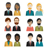 Set of cultural character heads. Flat illustration stock illustration