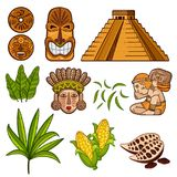 Set of cultural Mayan objects stock illustration