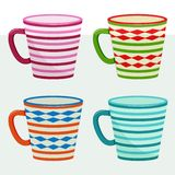 Set of cup with colorful pattern. Vector illustration vector illustration