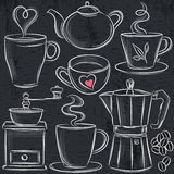 Set cup of hot drink on blackboard Royalty Free Stock Photo