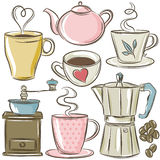 Set cup of hot drink Stock Images