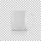 Set of Cup or Mug White Color. Cup or mug white color. Object coffee or tea, ceramic utensil, beverage breakfast, refreshment caffeine, handle container Royalty Free Stock Photo