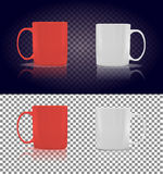 Set of Cup or Mug White and Red. Object coffee or tea, ceramic utensil, beverage breakfast, refreshment caffeine, handle container, realistic glossy elegance Stock Photo
