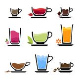 Set cup icons of beverages Stock Image