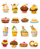 Set cupcake. Isolated on white background vector Stock Photo