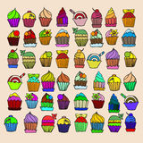 Set cupcake. Color doodle vector Royalty Free Stock Images