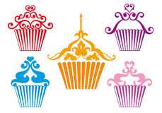 Set of cupcake designs,  Royalty Free Stock Photography