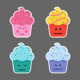 Set of cupcake emojis icons. Stock Photography