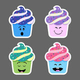 Set of cupcake emojis icons Royalty Free Stock Image