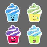 Set of cupcake emojis icons Royalty Free Stock Images