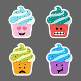 Set of cupcake emojis icons Stock Photo