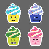 Set of cupcake emojis icons Stock Photography
