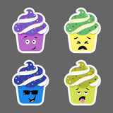 Set of cupcake emojis icons Stock Images