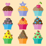 Set of cupcake. Set of nine different colors cupcake Royalty Free Stock Photography