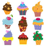 Set of cupcake. Set of nine different colors cupcake Stock Photography