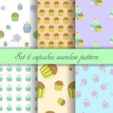 Set 6 cupcake seamless pattern Stock Photos