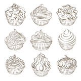 Set of cupcake sketch on white. Stock Images