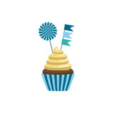 Set cupcake toppers. Cupcake in flat style decorated with toppers isolated on white background. Cakes for a festive sweet table Stock Image