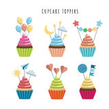 Set cupcake toppers. Vector set of cupcakes in flat style embellished with toppers color illustrations. Sweet treats for children royalty free illustration