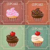 Set of cupcake on vintage background -  illustration Royalty Free Stock Photos