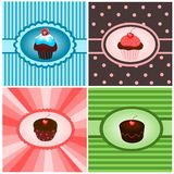 Set of cupcake vintages royalty free illustration