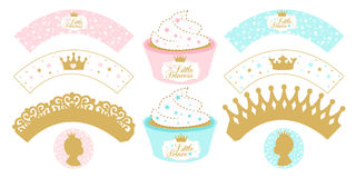 Set of cupcake wrappers for party. Royalty Free Stock Photo