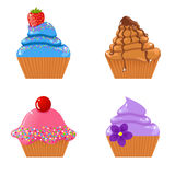 Set of cupcakes. Vector set of cute tasty cupcakes and shortcakes Royalty Free Stock Photo