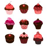 Set of cupcakes vector illustration