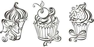Set of cupcakes. Set of black and white cupcakes Stock Images