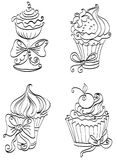 Set of cupcakes. Hand drawing set of cute sweet cupcakes Royalty Free Stock Photography