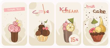 Set of Cupcakes Banners Royalty Free Stock Images