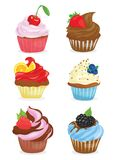 Set of cupcakes. A collection of cartoon cakes. Confectionery. Vector illustration of sweet baking. Royalty Free Stock Images