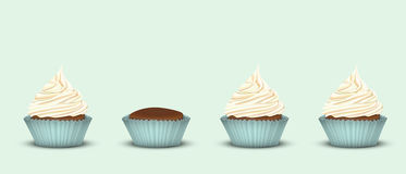 Set of 4 cupcakes Stock Image