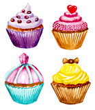 Set of cupcakes with cream. Vectorized watercolor illustration Royalty Free Stock Photography