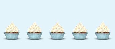 Set of 5 cupcakes with delicious cream Stock Photography