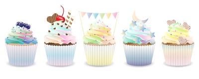 Set of cupcakes Stock Photo