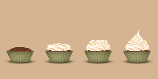 Set of cupcakes with a different amount of cream Stock Photo