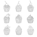 Elements of a cupcake. Stock Images