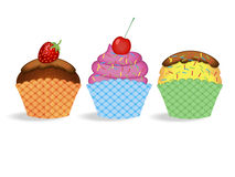Set cupcakes. Set different cupcakes on a white background royalty free illustration