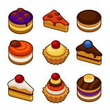 Set of cupcakes icons Royalty Free Stock Photography