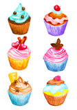 Set of cupcakes made in watercolor. vector illustration Stock Photos