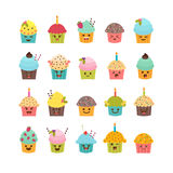 Set of cupcakes and muffins. Cute cartoon characters, emoji.  Stock Images