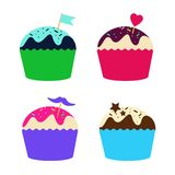 Set of cupcakes and muffins,  illustration Royalty Free Stock Photo